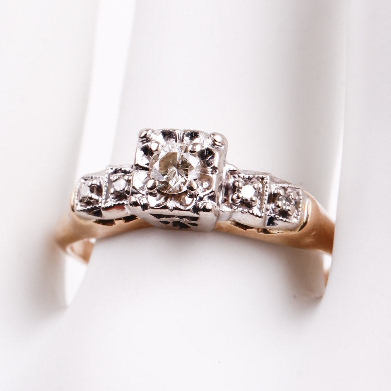 14K Two-Tone Gold and Diamond Engagement Ring