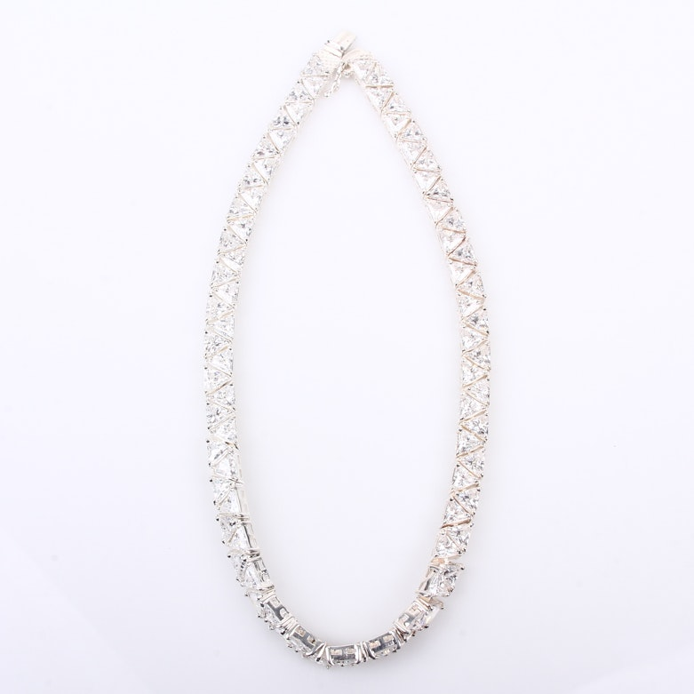 Sterling Silver and Cubic Zirconia Geometric Choker