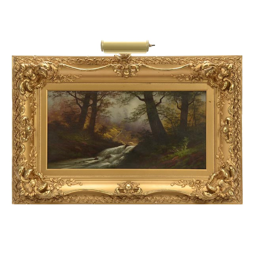 a863698f37ca Antique Oil on Board Forest Landscape Painting in Ornate Frame   EBTH