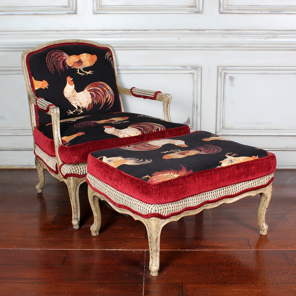 Incroyable Louis XVII Style Armchair And Ottoman With Rooster Upholstery