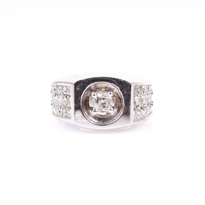 Men's 14K White Gold and Diamond Ring