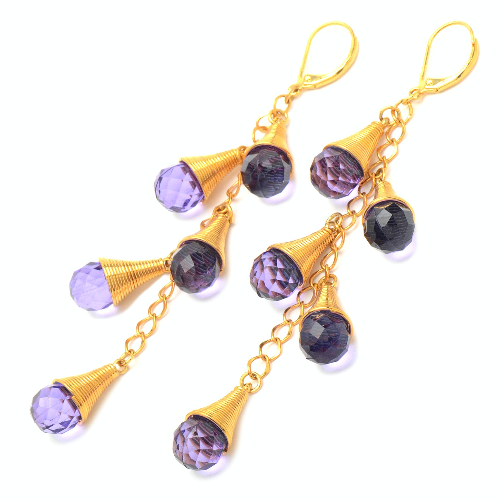 Costume Drop Earrings with Chain, Coils and Faceted Cut Purple Glass Stones
