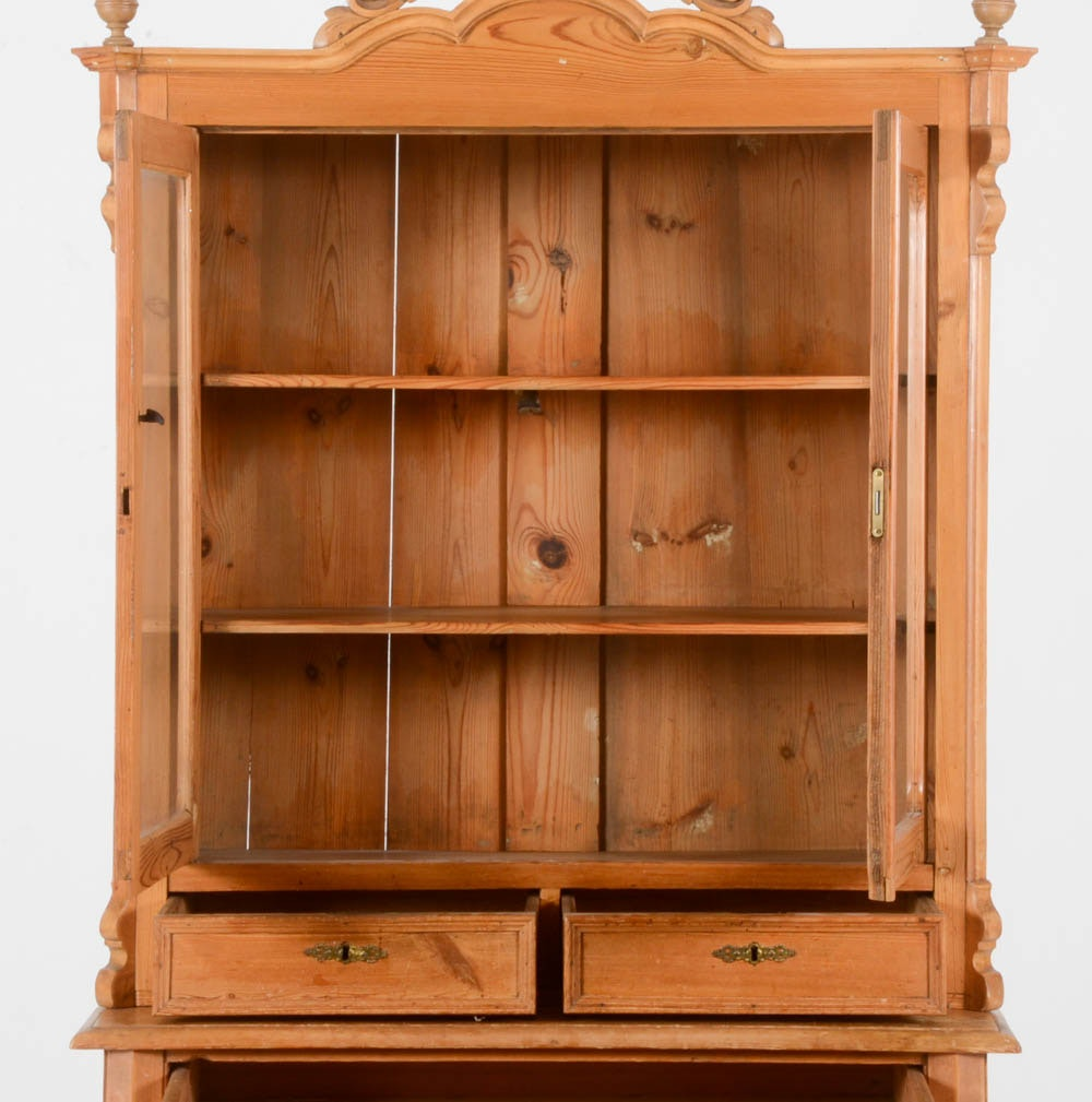 Vintage Knotty Pine Paneling: Antique Northern European Two Piece Knotty Pine Hutch