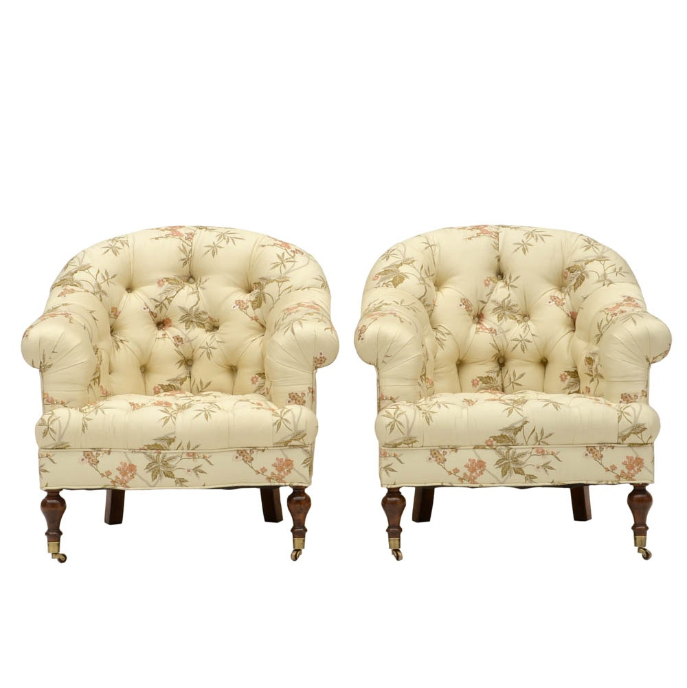 Pair of Silky Tufted Armchairs with Floral Blossoms