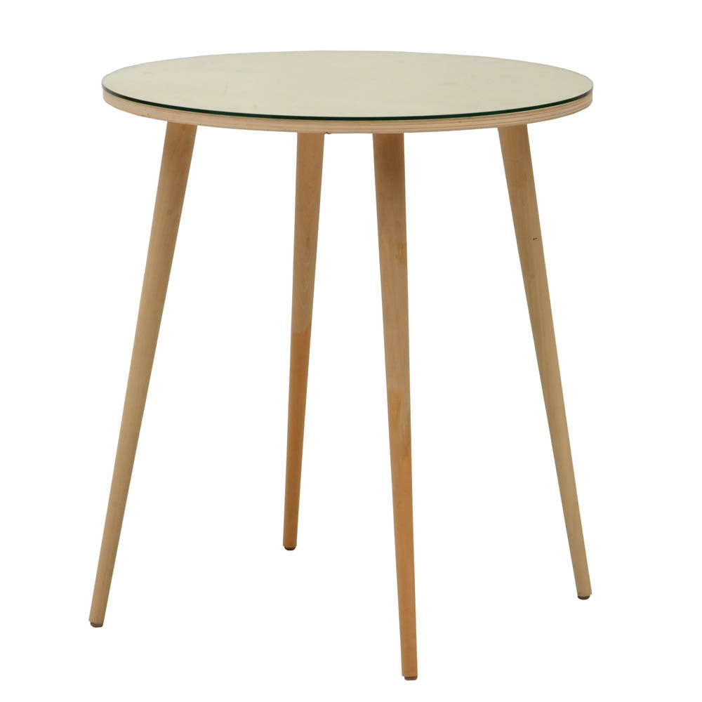 Glass Top Round Wood Table