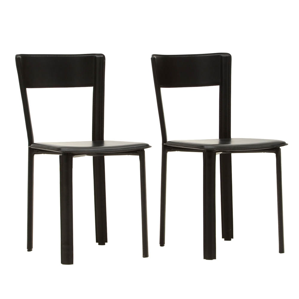 Frag Black Leather Side Chairs
