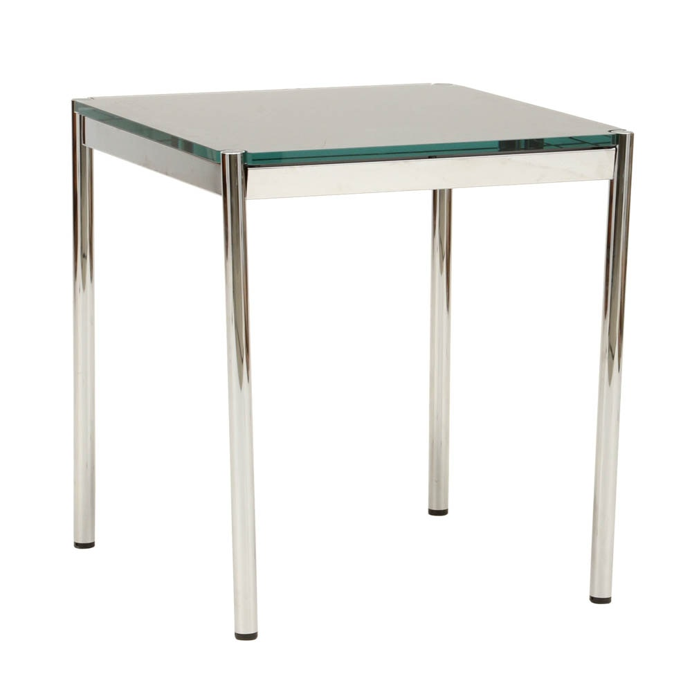 USM Haler by Fritz Haller Designer Chrome and Glass Table