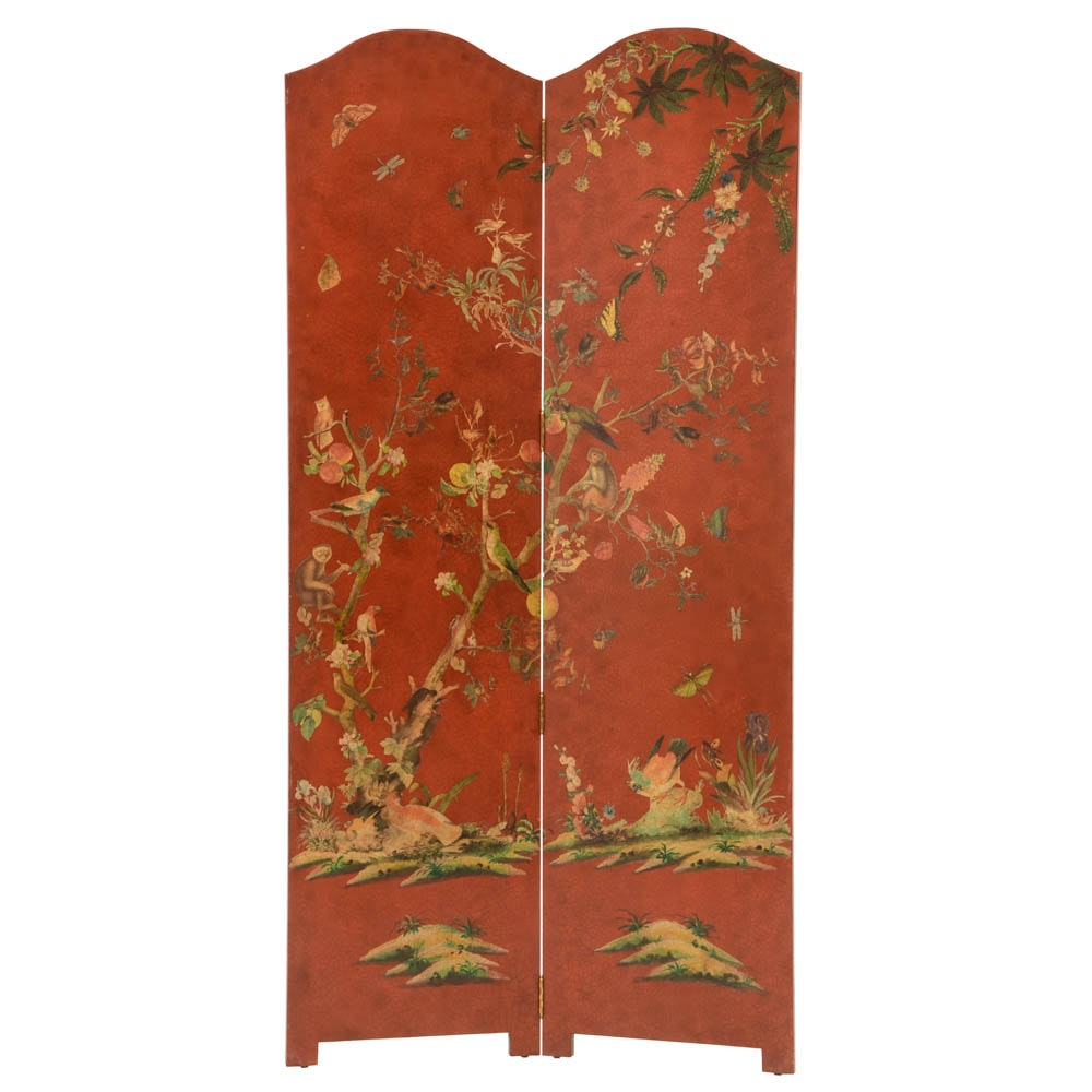 Lillian August Screen Room Divider in Brick Red with Multi-Color