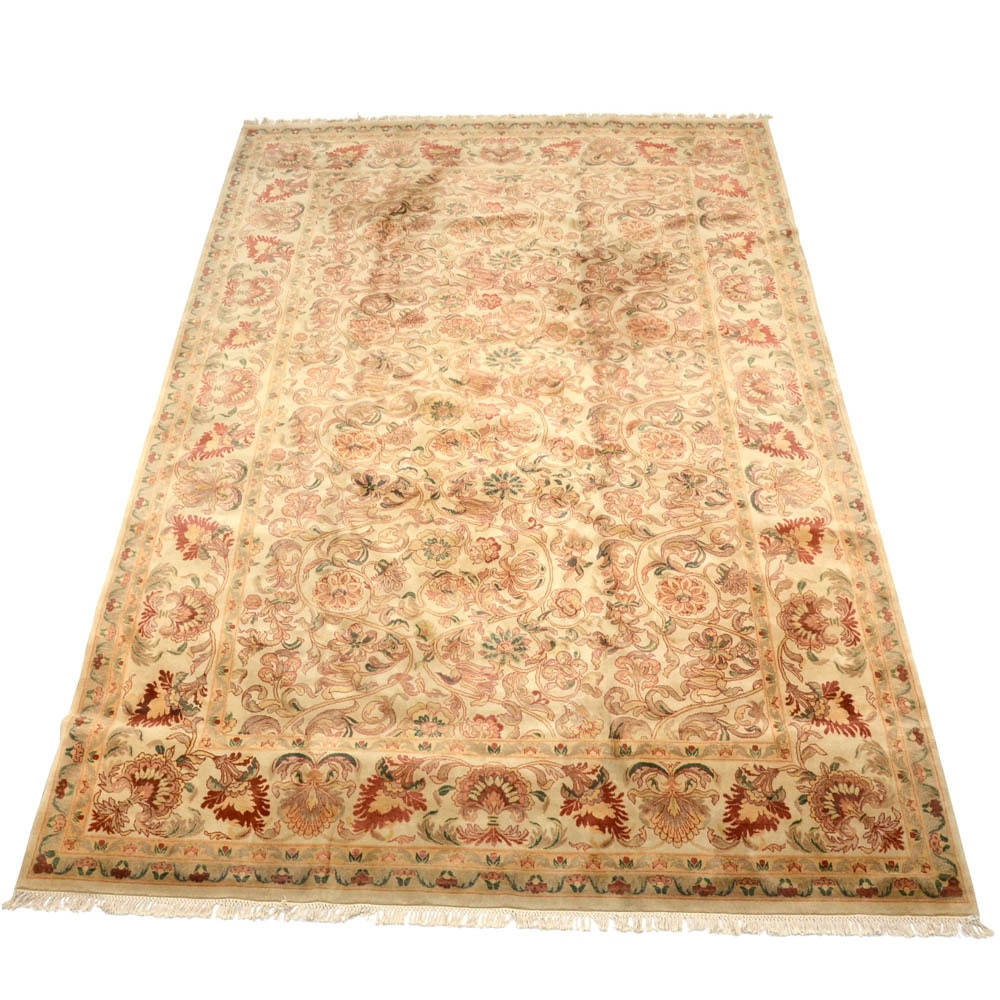 Hand-Knotted Persian-Inspired Wool Blend Room-Sized Rug