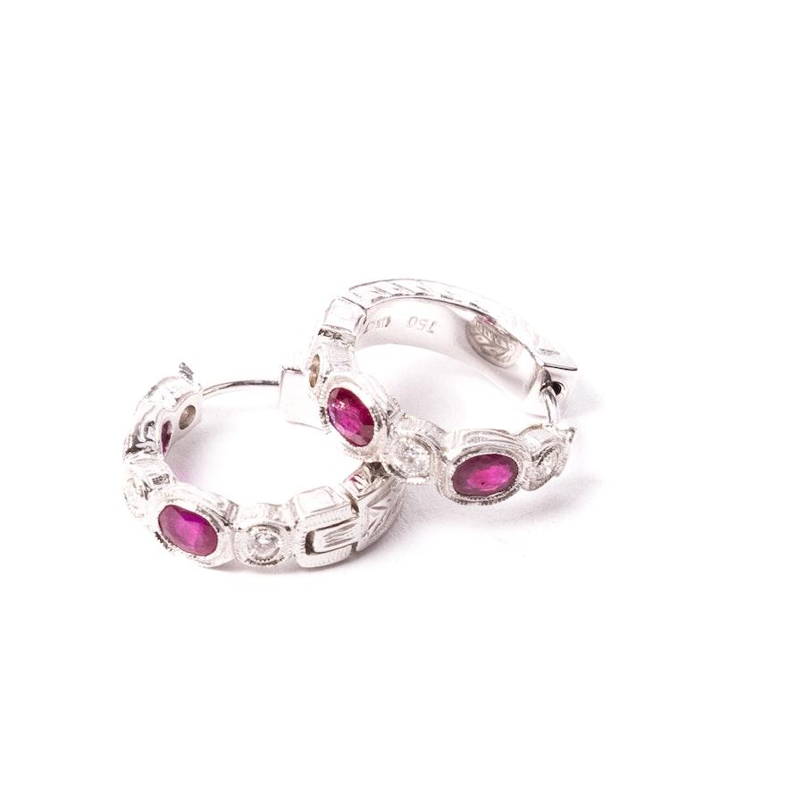 18k White Gold Ruby And Diamond Huggie Hoop Earrings