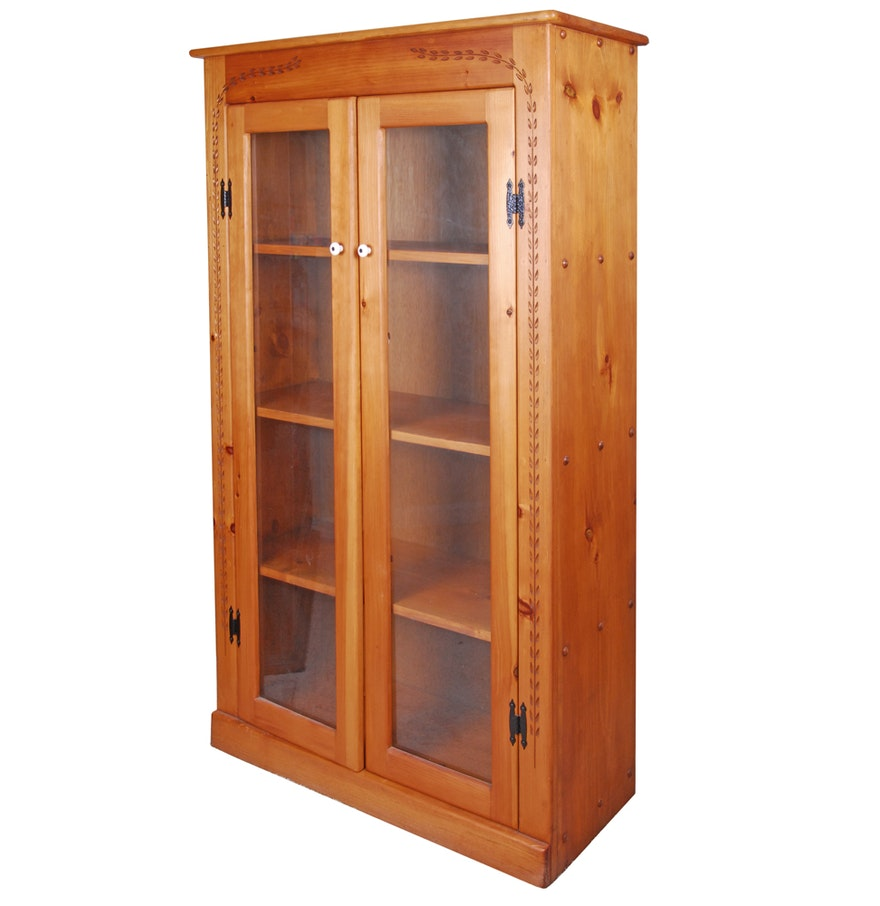 Large Cabinet With Doors Large Wood Cabinet With Double Glass Doors Ebth
