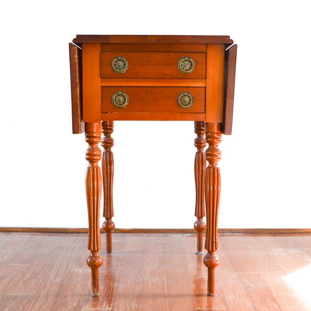 Sheraton Style Vintage Cherry Drop Leaf Side Table