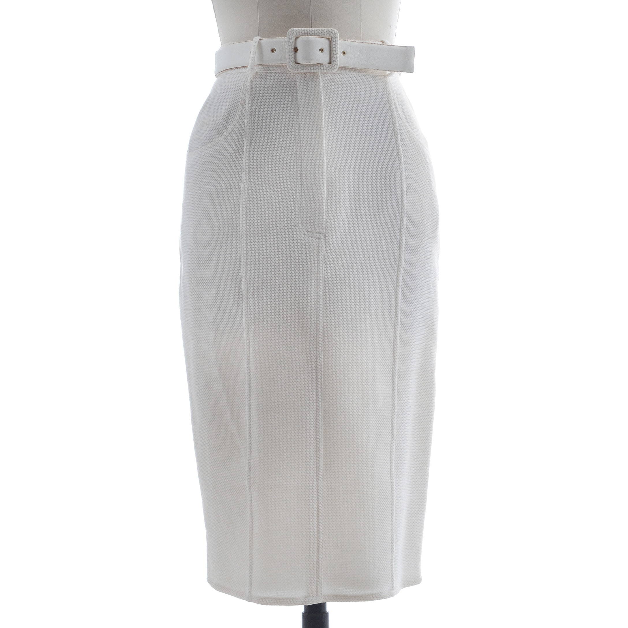 Chanel Pencil Skirt In Blanc Textured Cotton with Matching Belt