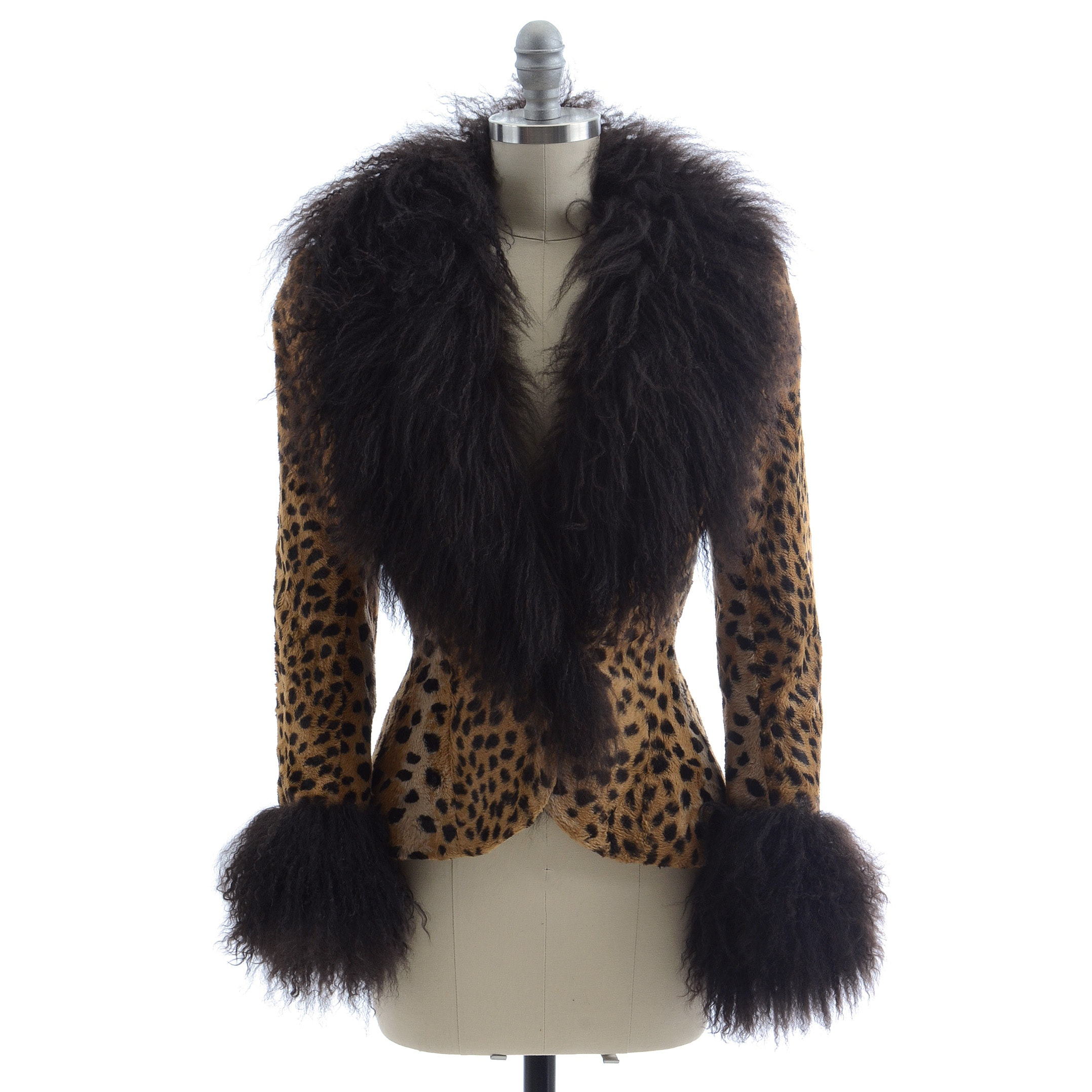 Emanuel Ungaro of Paris Parallele Cheetah Print Jacket Trimmed in Mongolian Curly Lamb Fur