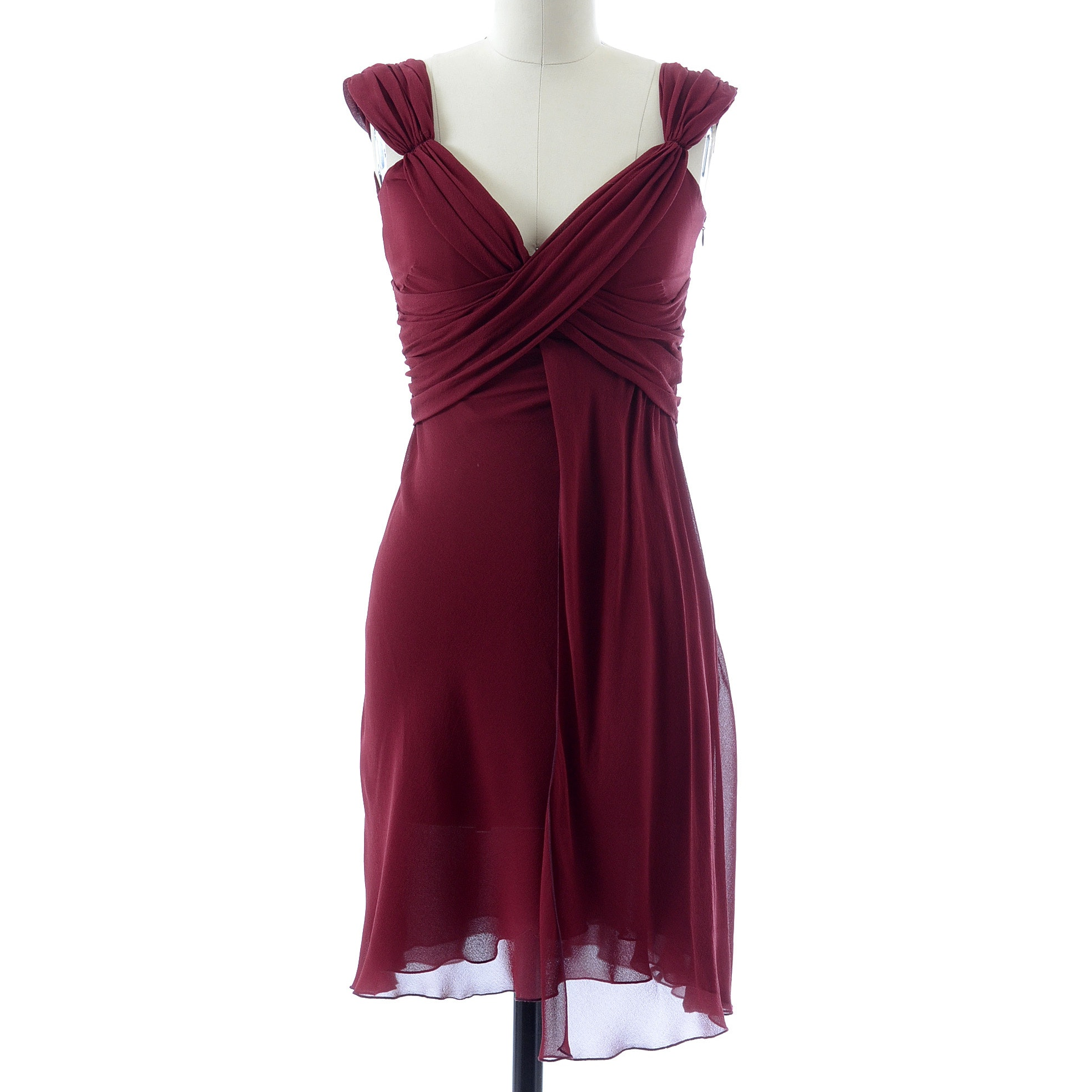 Valentino Cabernet Silk Chiffon Ruched Sleeveless Dress