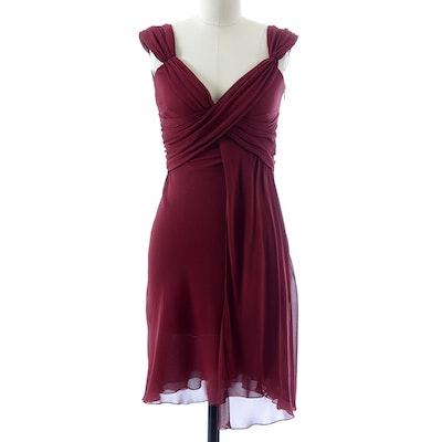 Valentino Cabernet Silk Chiffon Ruched Sleeveless Dress