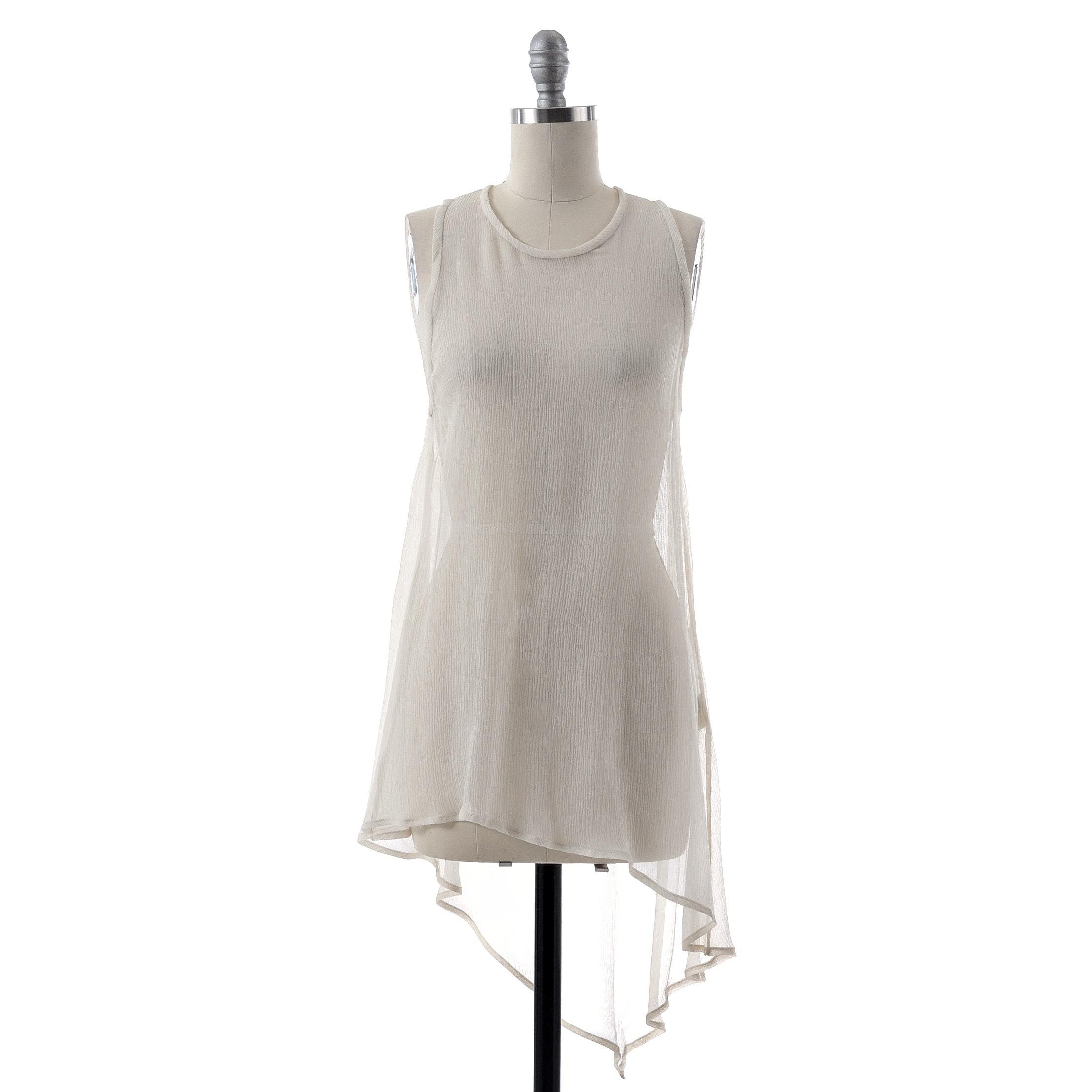 3.1 Philip Lim Ivory Silk Chiffon Sleeveless Asymmetric Tunic
