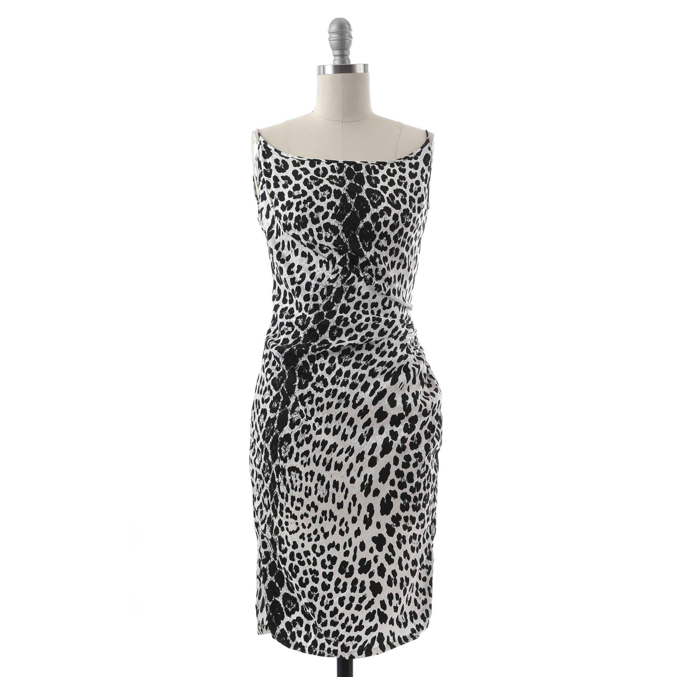 Emanuel Ungaro of Paris Parallele Sleeveless Black and White Silk Leopard Print Cocktail Dress with Ruching