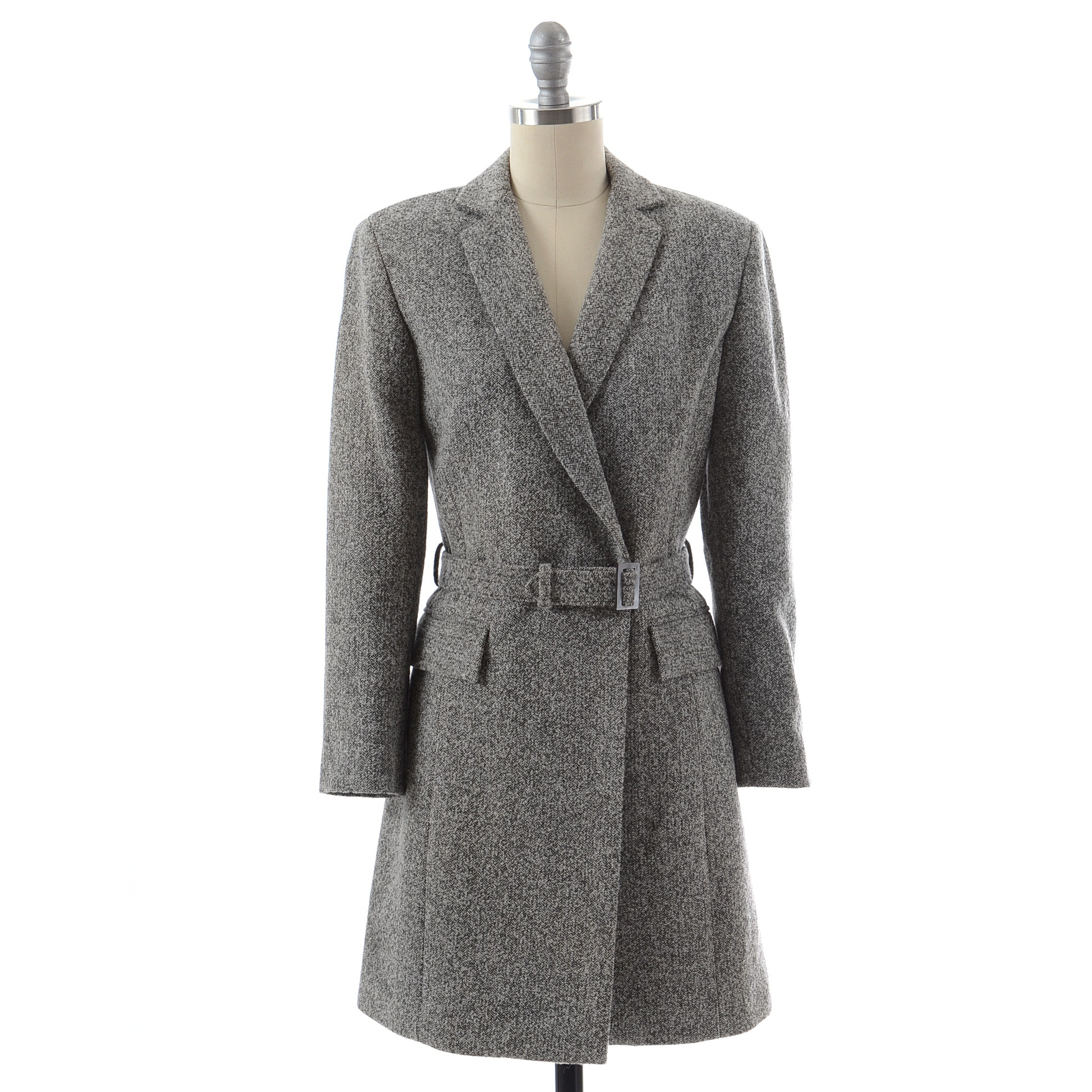 Mark Eisen Herringbone Tweed Wool Blend Single Button Walking Coat