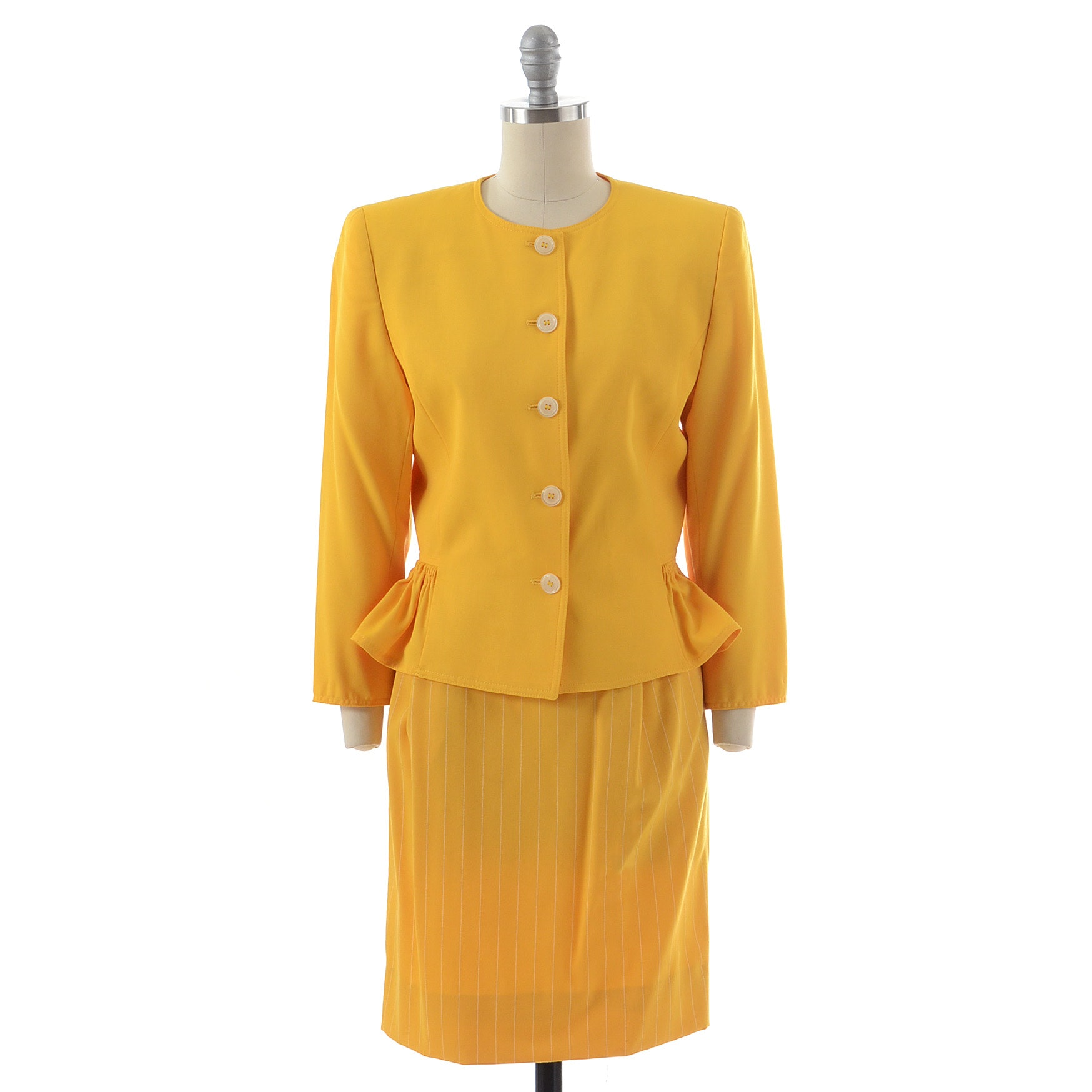 """1980s Valentino Miss V Sunny Yellow Wool Button Front Ruched Jacket Paired with an Emanuelle Ungaro Solo Donna of Paris Yellow Gabardine Wool Pin Stripe Skirt with """"ERICA, FEB.16, 1988"""" on the Label"""