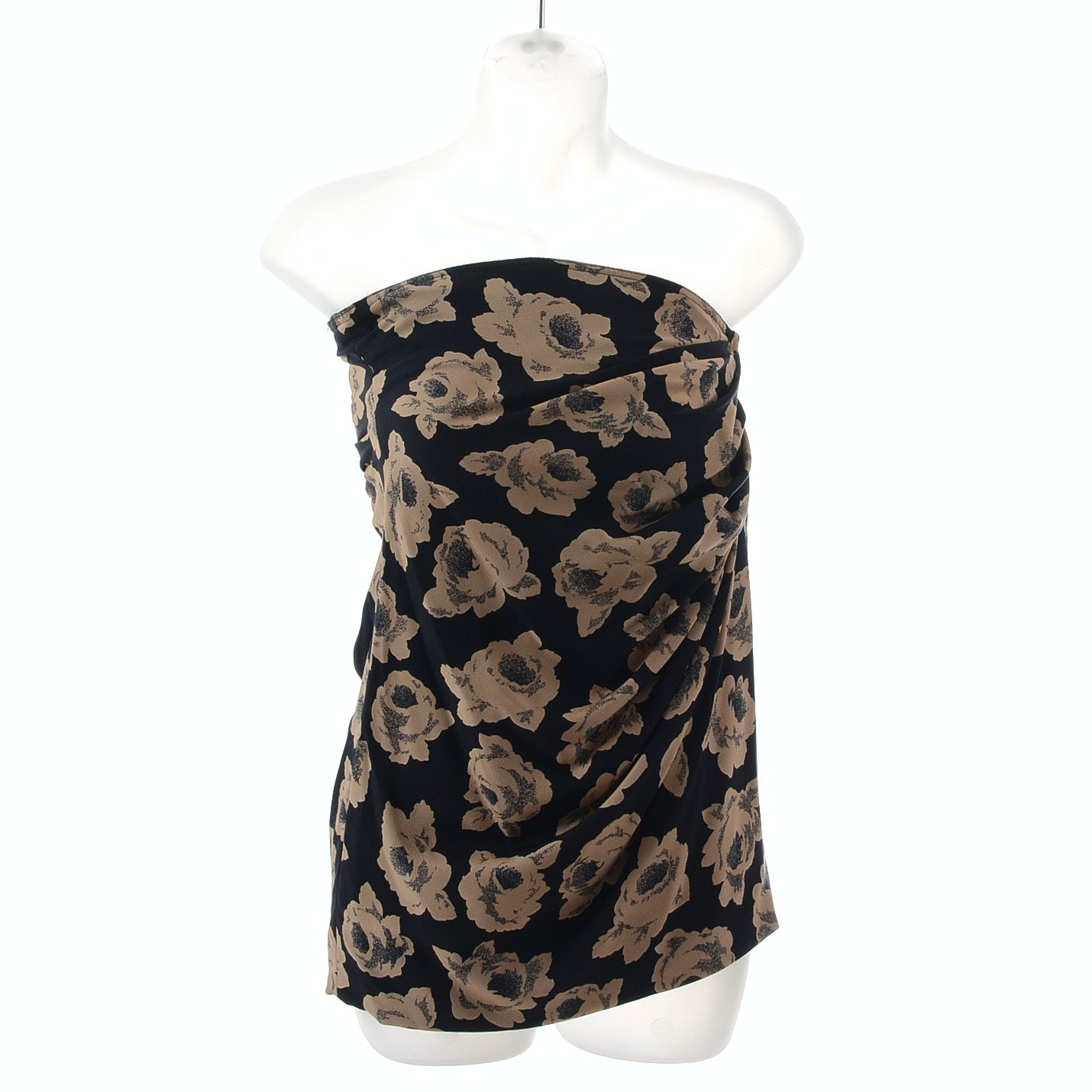 Emanuel Ungaro of Paris Parallele Floral Print Strapless Blouse with Ruching