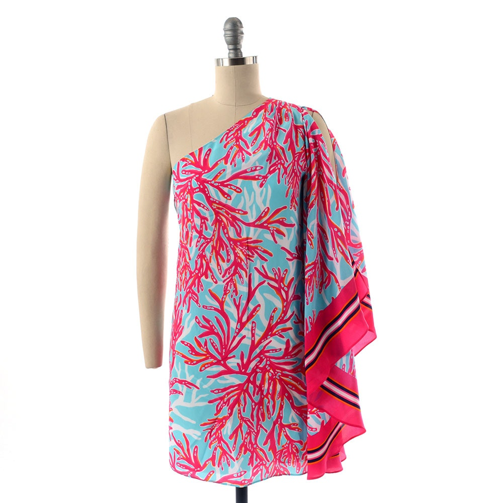 "Lilly Pulitzer ""Marlee"" One-Shoulder Dress in a Multi-Color Polyester Coral Print"