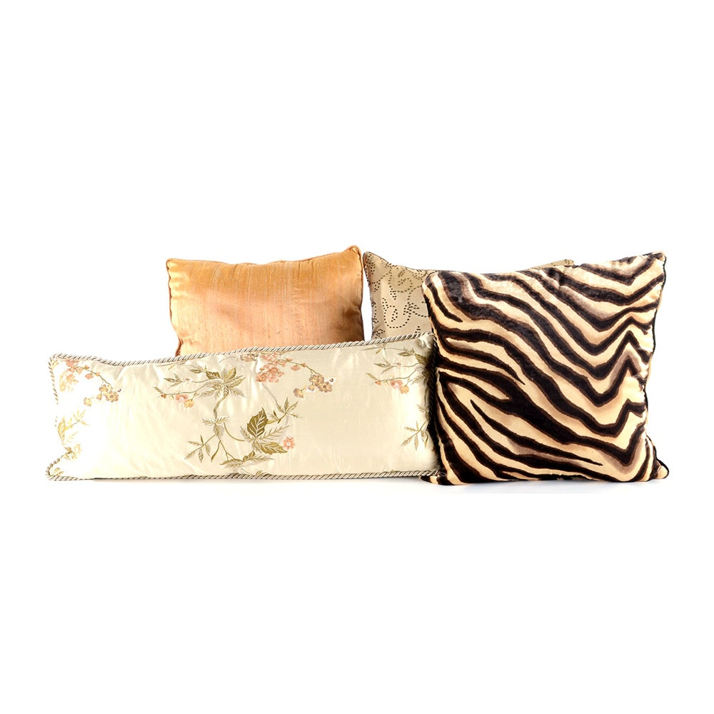 Group of Four Decorative Throw Pillows