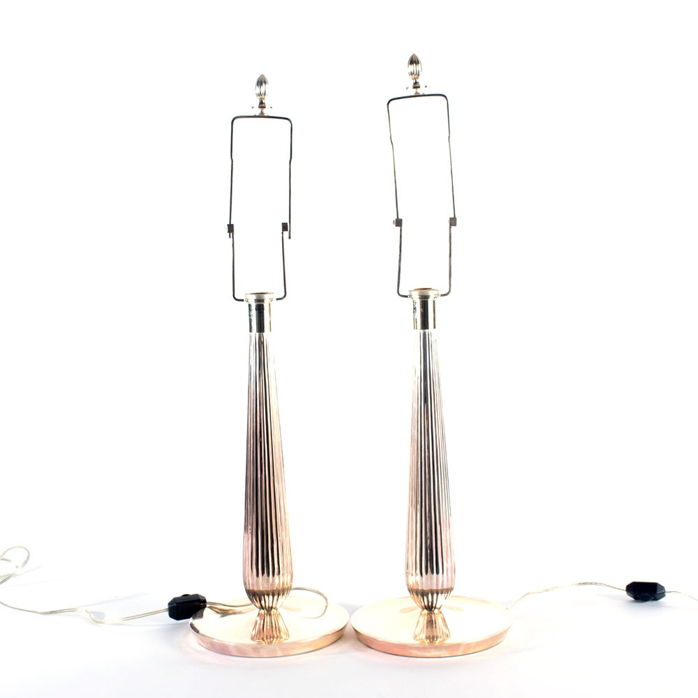 Pair of Silver Tone Table Lamps