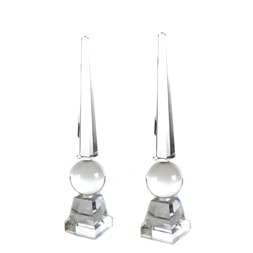 Pair of Lucite Obelisks