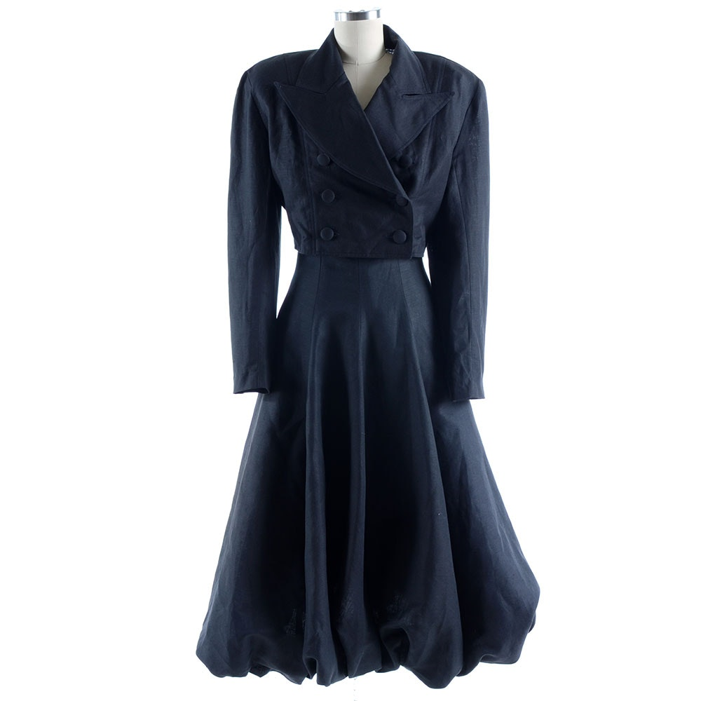 Melivier Black Linen Sleeveless Dress and Crop Jacket