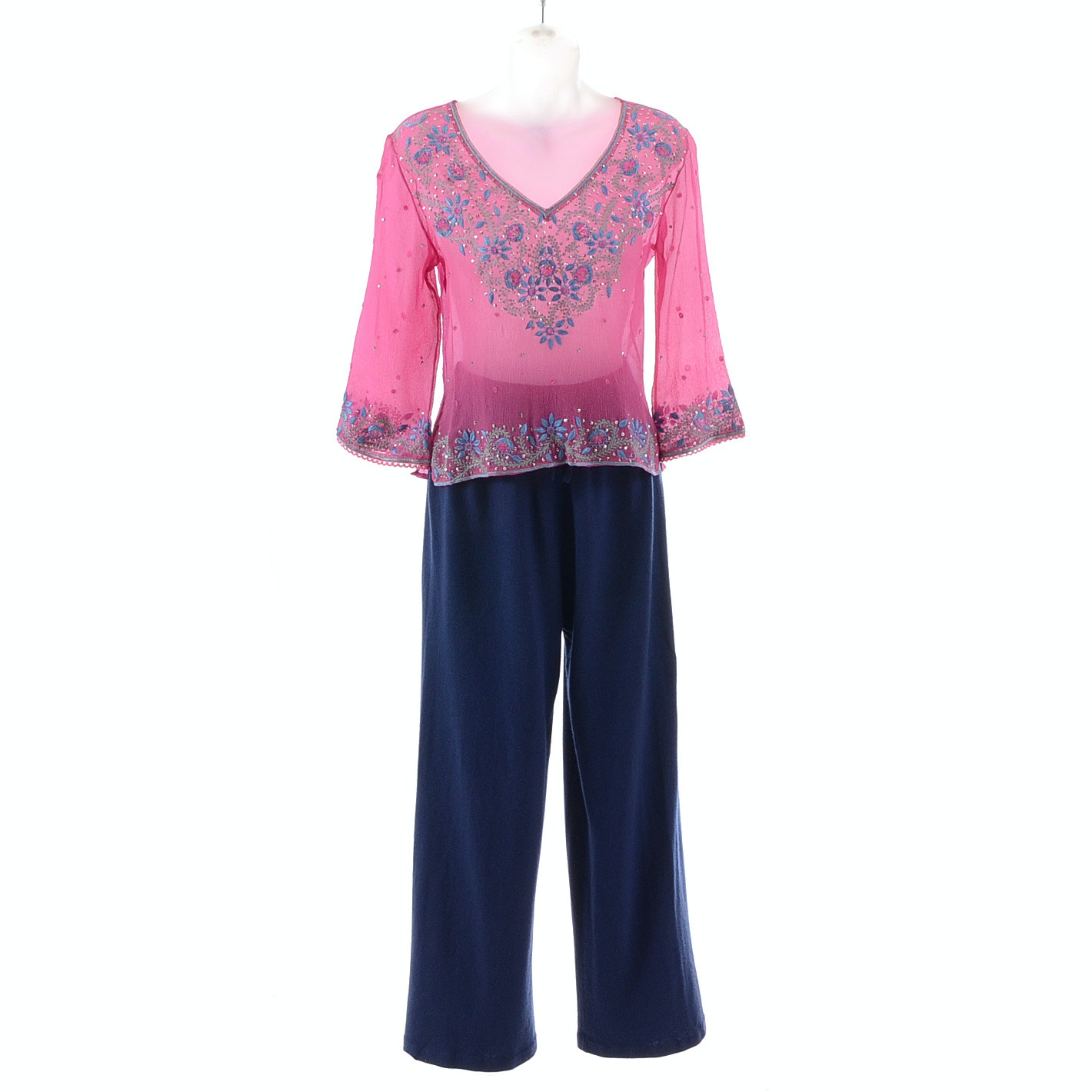 Luna Stensson Pink Silk Embroidered Blouse Paired with TSE Blue Silk/Cashmere Blend Knit Pants