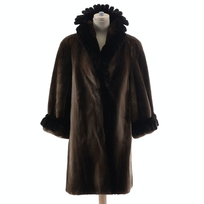 Luxurious Exclusive Vintage Birger Christensen Natural Reserve Fine Sheared Beaver and Ranch Mink Fur Coat Trimmed in Mink Tails
