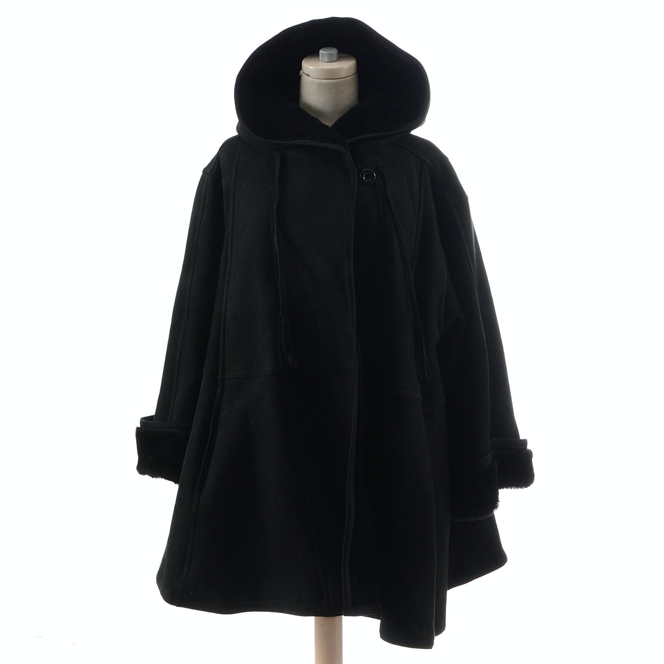 Black Suede Leather Hooded Swing Coat with Faux Fur Lining From Bergdorf Goodman On The Plaza New York