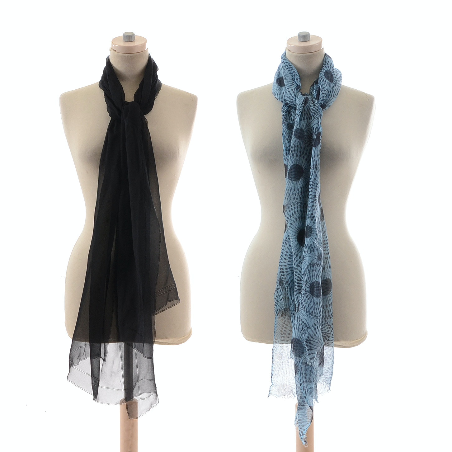 Black Silk Chiffon Wrap and Slate Blue and Black Floral Print Knit Wrap