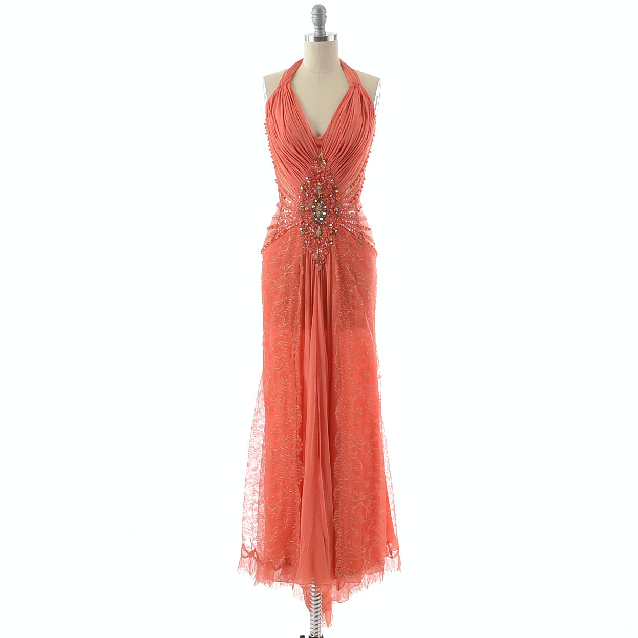 Stunning Coral Silk Chiffon and Gold Metallic Mesh Lace Halter Gown Embellished with Prong Set Aurora Borealis Crystal Rhinestones and Sequins