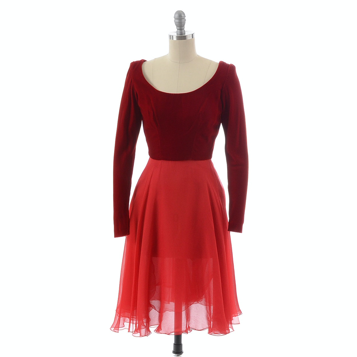 Vintage Red Velvet and Silk Chiffon Cocktail Dress