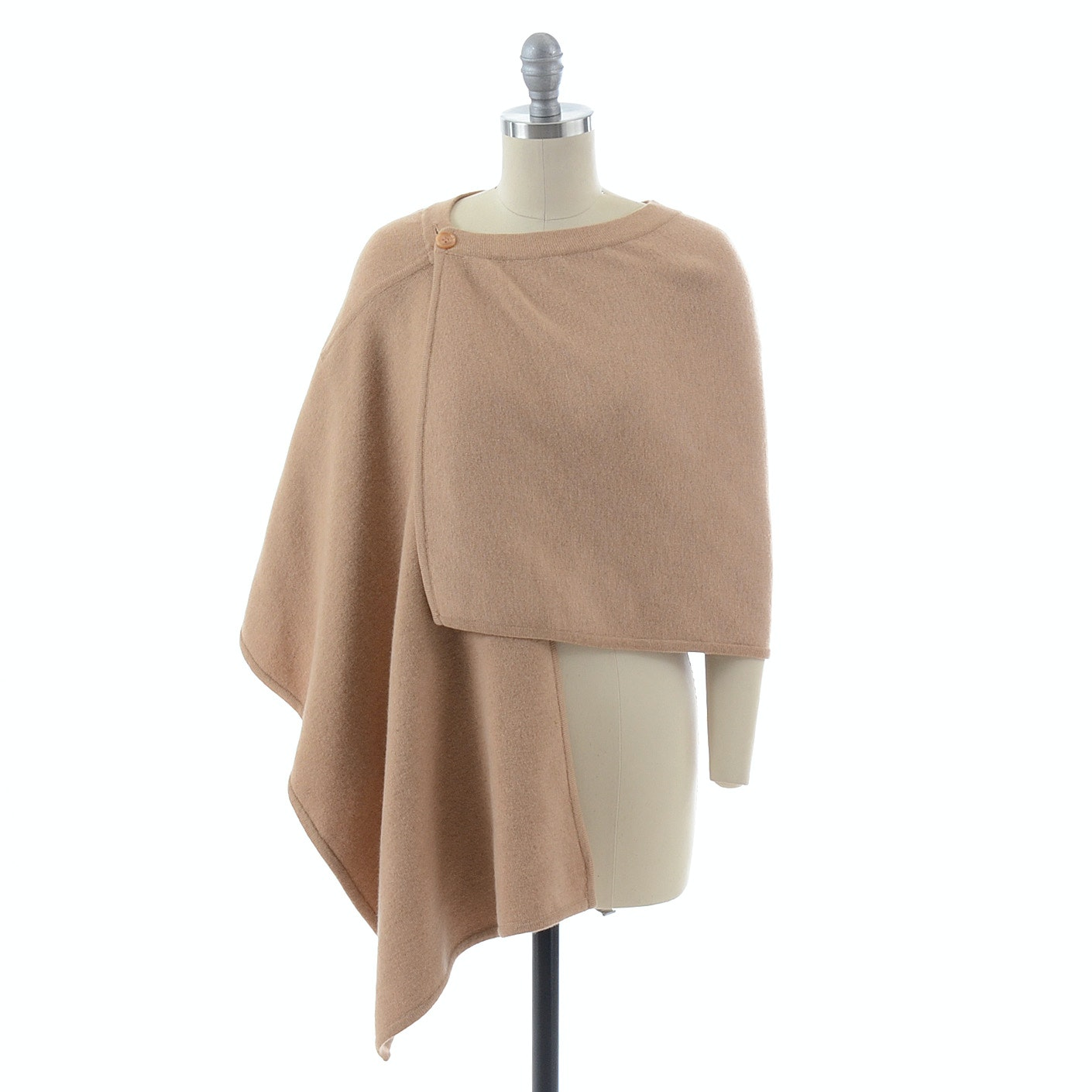 Donna Karan of New York Cashmere Blend Wool Poncho Wrap in Camel