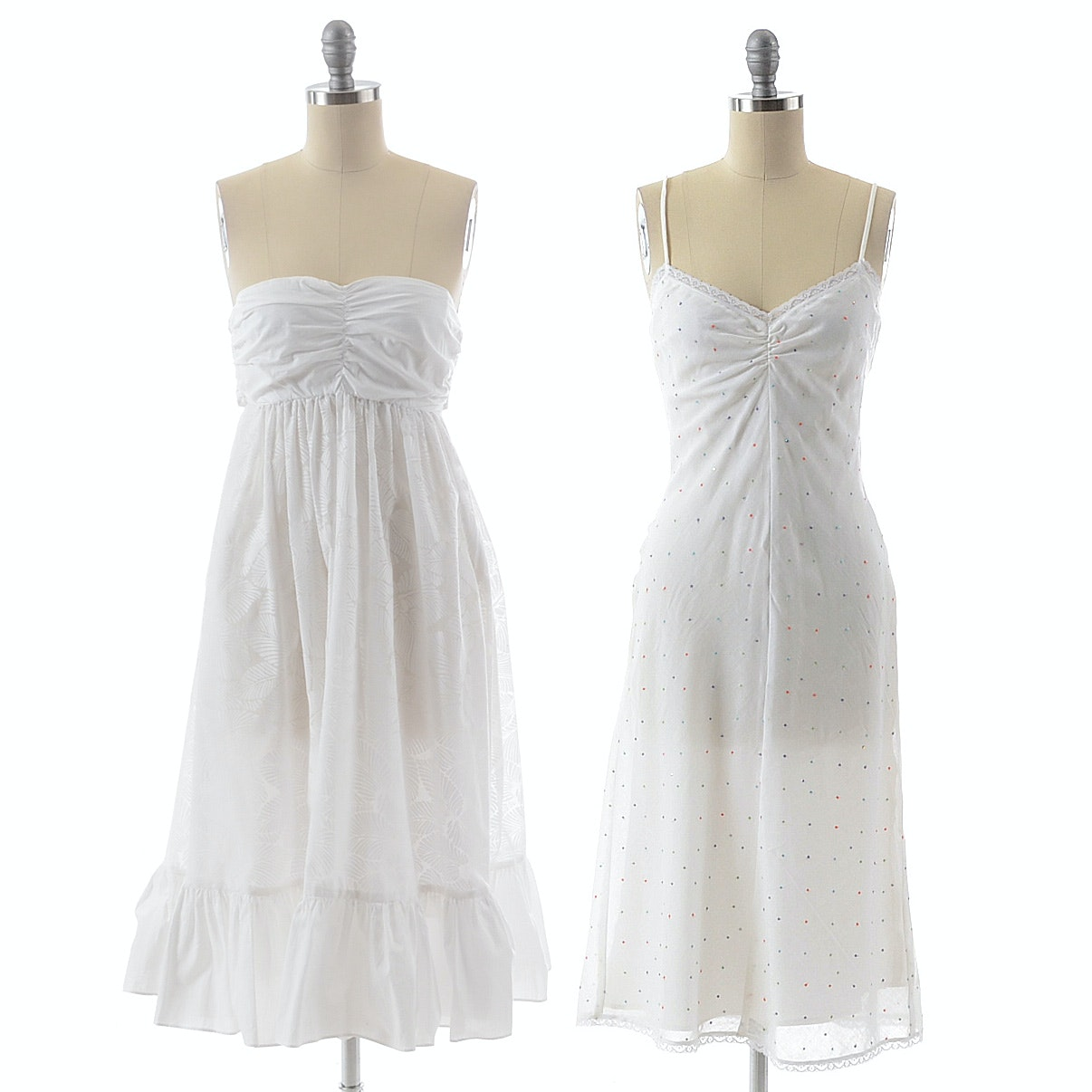 Two Sun Dresses in White Cotton by Rebecca Taylor and The Island Company