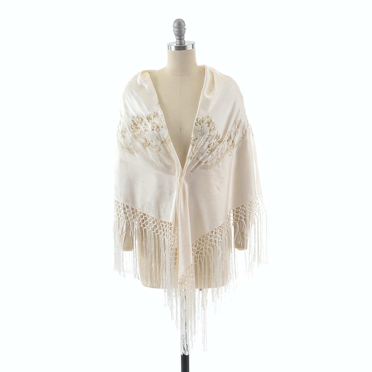 Hand Decorated Ivory Silk Shawl in Scrolling Floral Sprays with Hand Knotted Fringe