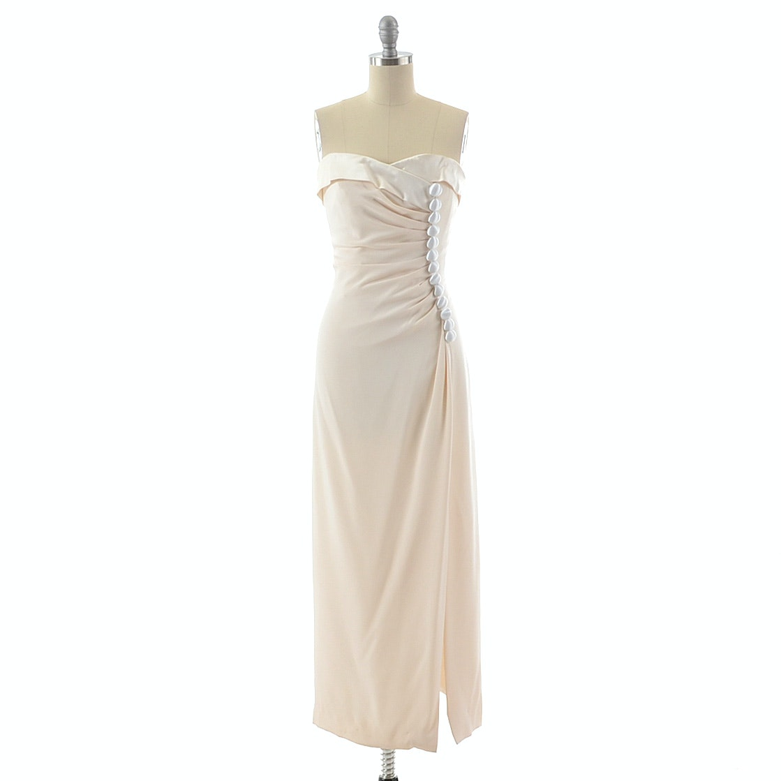 1990s Scassi Boutique Strapless Evening Dress in Ivory Silk