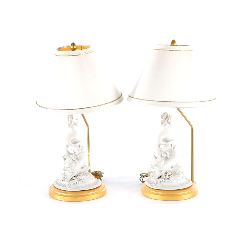 Pair of Mabro Bisque Porcelain Mermaid Lamp