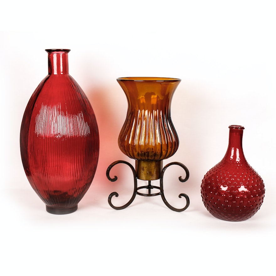 Set Of Three Large Colored Glass Vases Ebth