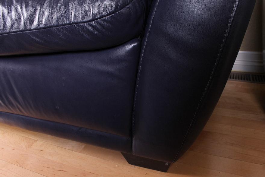 Dark Blue Faux Leather Sofa By Editions Ebth