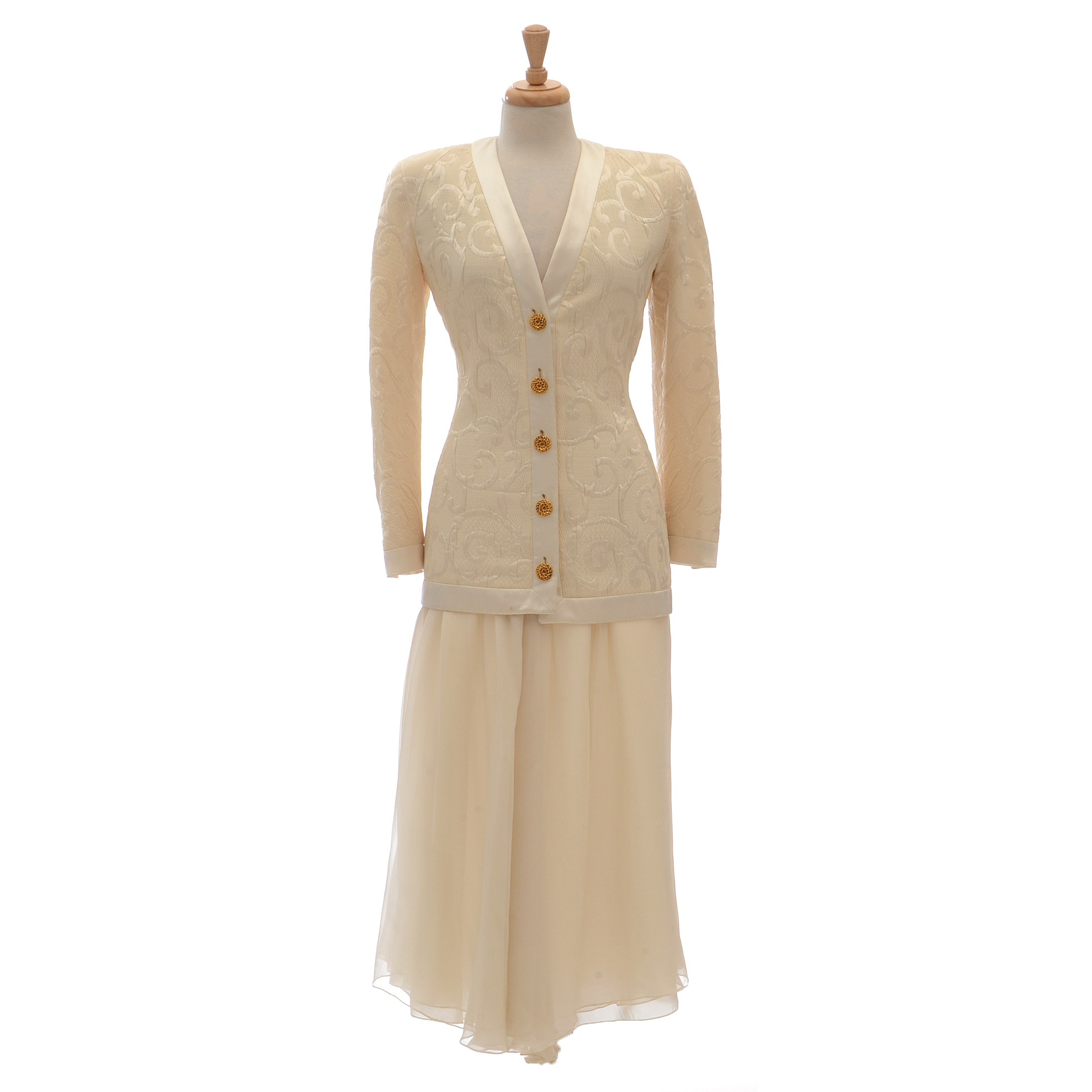 1990s Valentino Night Ivory Embossed Silk/Wool Blend Evening Jacket Paired with an Ivory Silk Chiffon Long Skirt