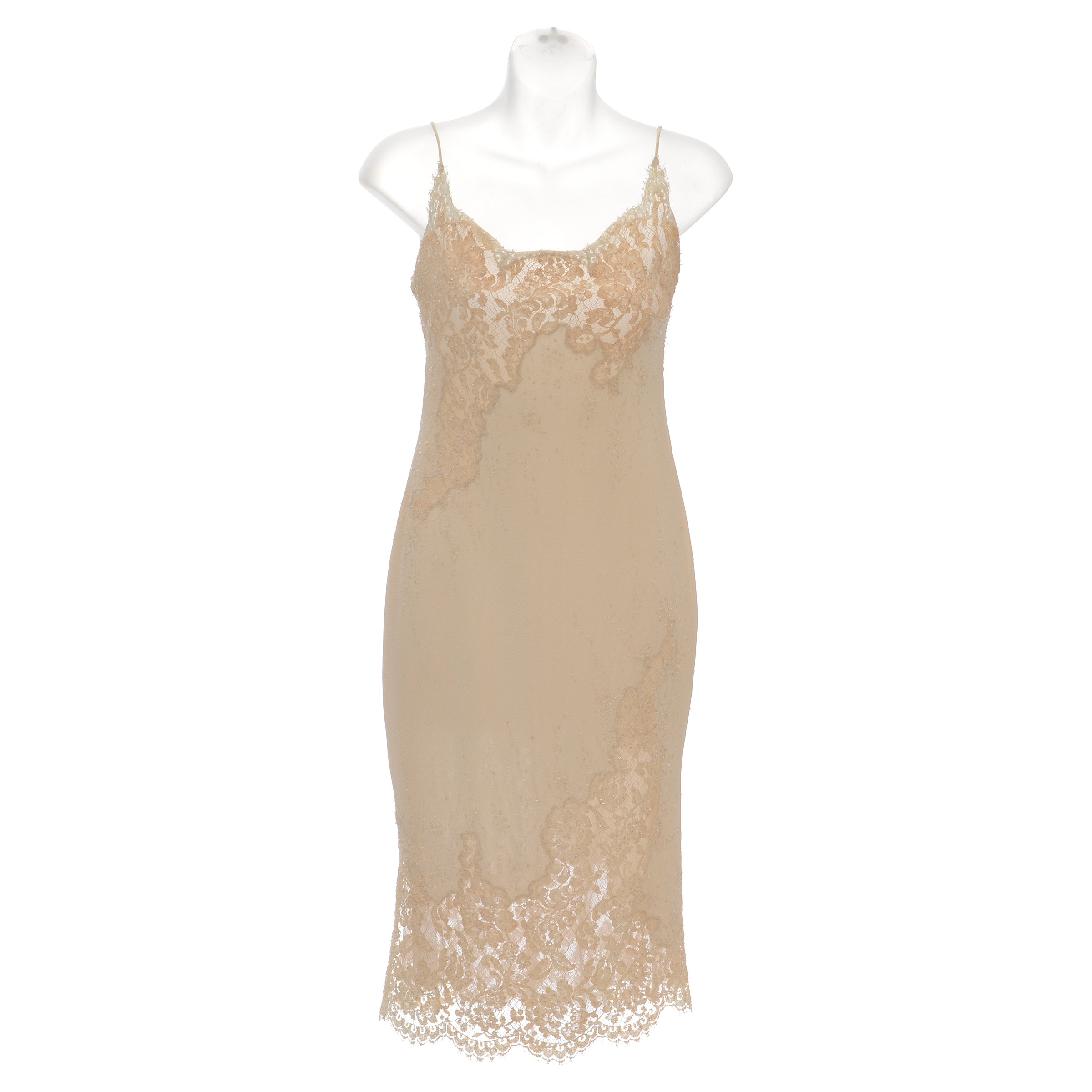 Formal Slip Dress in Ivory with Lace and Embellished with Hand Sewn Sequins and Seed Beads Susan Wore at a Party When She Was 21