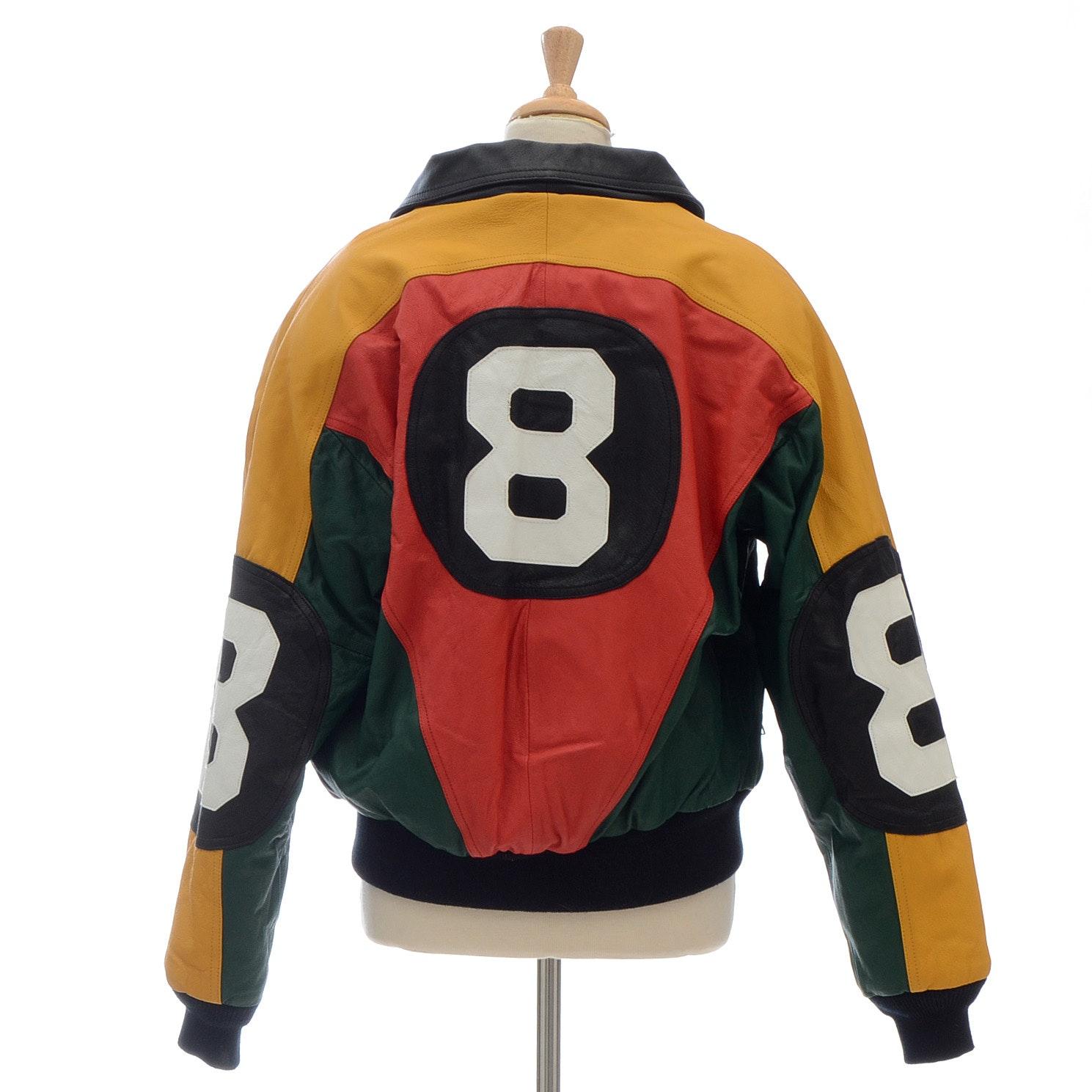"Leather ""Eight Ball"" Bomber Jacket"