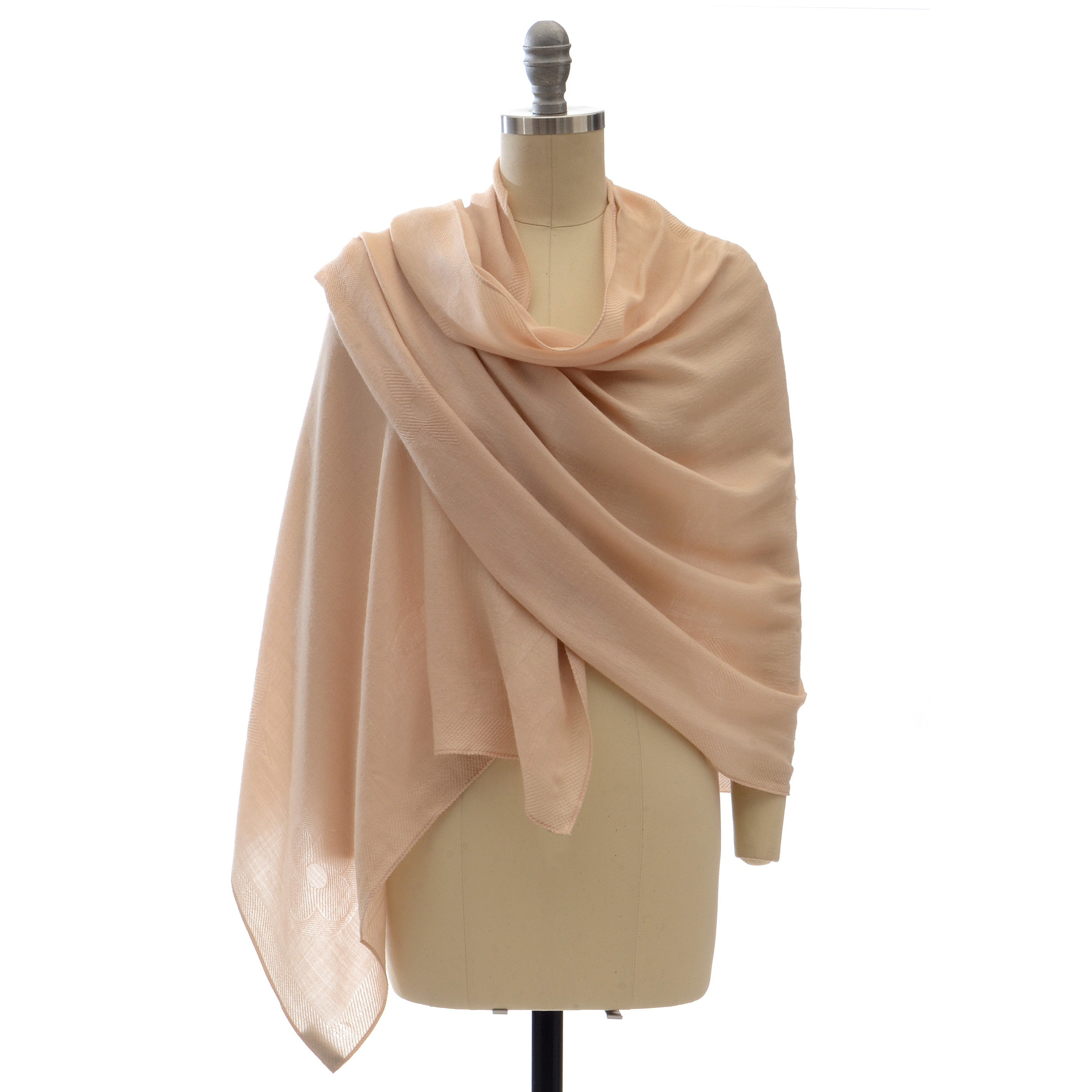 Louis Vuitton of Paris Beige Silk Cashmere Jacquard Weave Logo Stole with Monogram