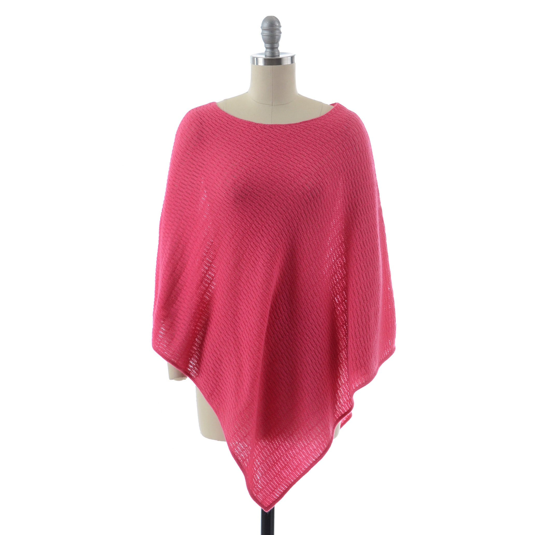 Claudia Nichole Hot Pink 100% Cashmere Knit Poncho