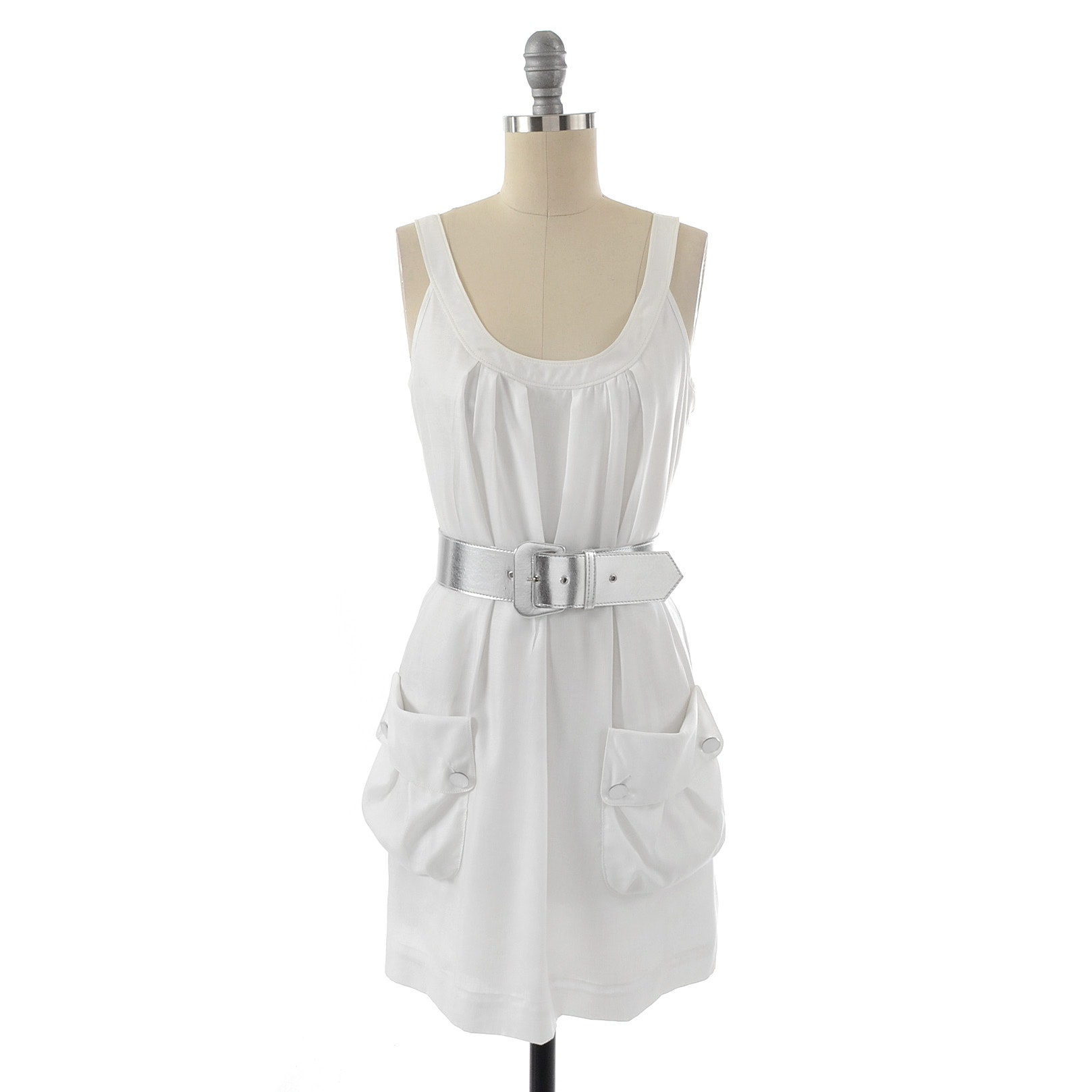 Sine White Silk Sleeveless Mini Dress