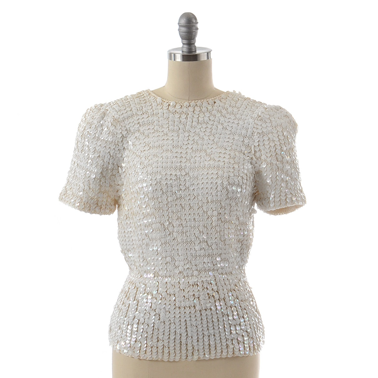 Deadstock 1980s Nanell Ivory Knit Blouse Embellished with Iridescent Sequins and Silk Bow For Saks Fifth Avenue